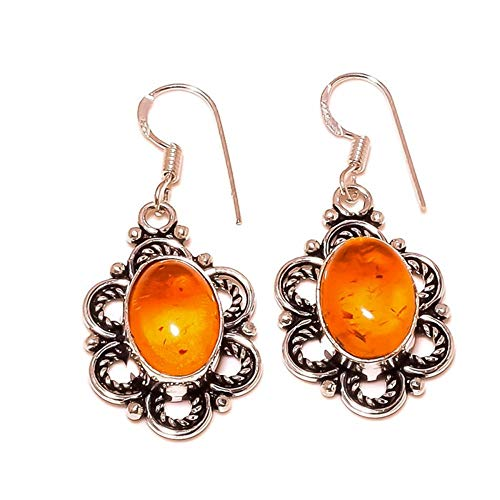 jewels house Baltic Amber Oval Gemstone Silver Plated Handmade Oxidized Drop Dangle Women Earrings