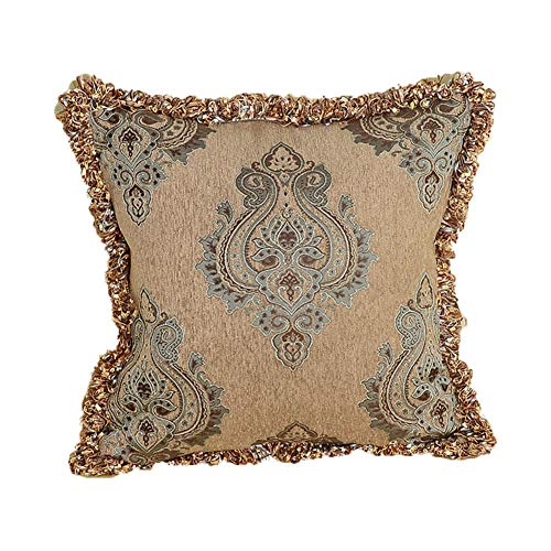 Luxury Palace Style Jacquard Pillow Covers, Handwoven Decorative Throw Pillow Covers with Tassels, Large Cushion Cover for Bed, Sofa, 22x22 inches ()
