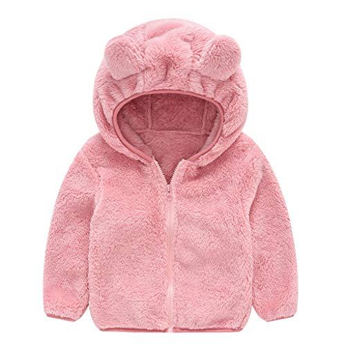 Graysky Cute Hooded Coat Zipper Bear Ear Thick Toddler Children Kids Baby Gril Boy Plus Velvet Warm Pink (Bear Grils Pants)