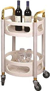 velocidad Rack Trolley Round Wine Cart Snack Trolley Mobile Tea Cart Hotel Wine Cart Bank Trolley Beauty Tool Trolley Storage TrolleyB, 40x40x80cm
