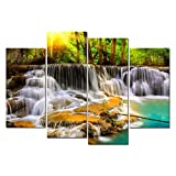 Cao Gen Decor Art-S48838 4 panels Wall Art Waterfall Painting on Canvas Stretched and Framed Canvas Paintings Ready to Hang for Home Decorations Wall Decor
