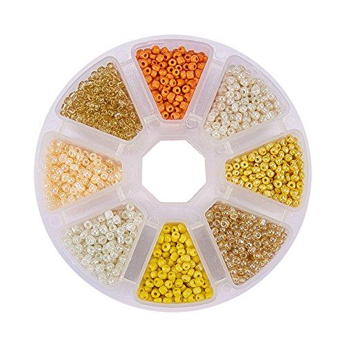 Pandahall 1 Box (About 3600pcs) 8/0 Mixed Yellow Round Glass Seed Beads, 3mm