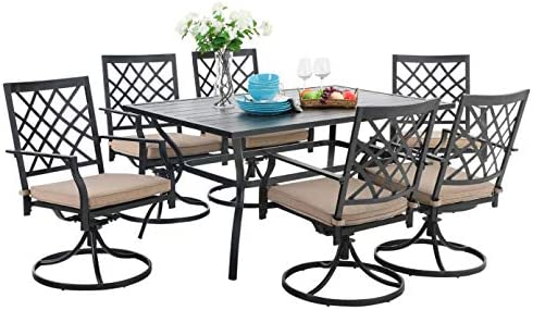 PHI VILLA Patio Metal Dining Set 7 Piece