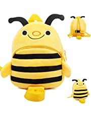 ESA Supplies Anti Lost Backpack Cute Bee Baby Backpack with Leash Safety Harness Backpack Baby Cartoon Plush Bag with Anti-Lost Leash for Kids