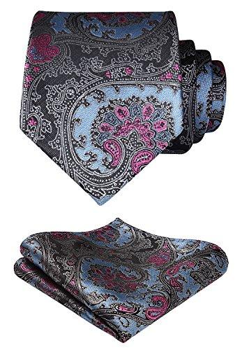 Pocket Square Handmade Tie - HISDERN Paisley Floral Wedding Tie Handkerchief Woven Classic Men's Necktie & Pocket Square Set Blue & Pink & Gray