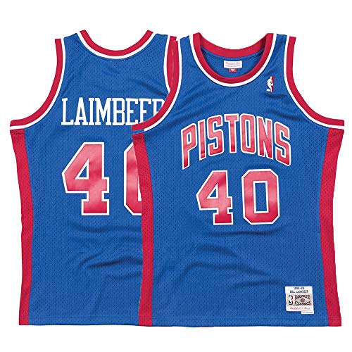 Mitchell & Ness Detroit Pistons Bill Laimbeer Swingman Jersey NBA Throwback Blue (XX-Large)