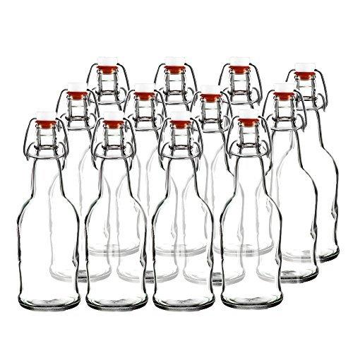 Easy Cap Beer Bottles and Kombucha Bottles - 16 oz. - Clear 12 pack - EZ Cap -- Original Cherry Blossom Hardware Bottles (12, Clear) by Cherry Blossom Hardware