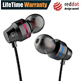 Earphones In Ear Headphones Earbuds with Microphone Mic Stereo and Volume Control Waterproof Wired Earphone For iPhone Samsung Android Mp3 Players Tablet Laptop 3.5mm Audio Black