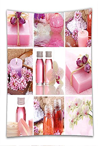 Nalahome Fleece Throw Blanket Spa Decor Flowers Pink Gift Wraps Tiny Scent Bottles and Candles Image Collage Lillium Pink and White