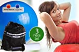 Anti-burst Inflatable Gym Ball with Pump and Bag(3 Piece Set). 65cm For Sale