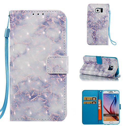 Galaxy S6 Case, Firefish Marble [3D Painting] [Card Slots] Slim-fit Premium PU Leather With Back Panel Cover Scratch Protective Flip Folio Shell for Samsung Galaxy (Inner Kick Panel)