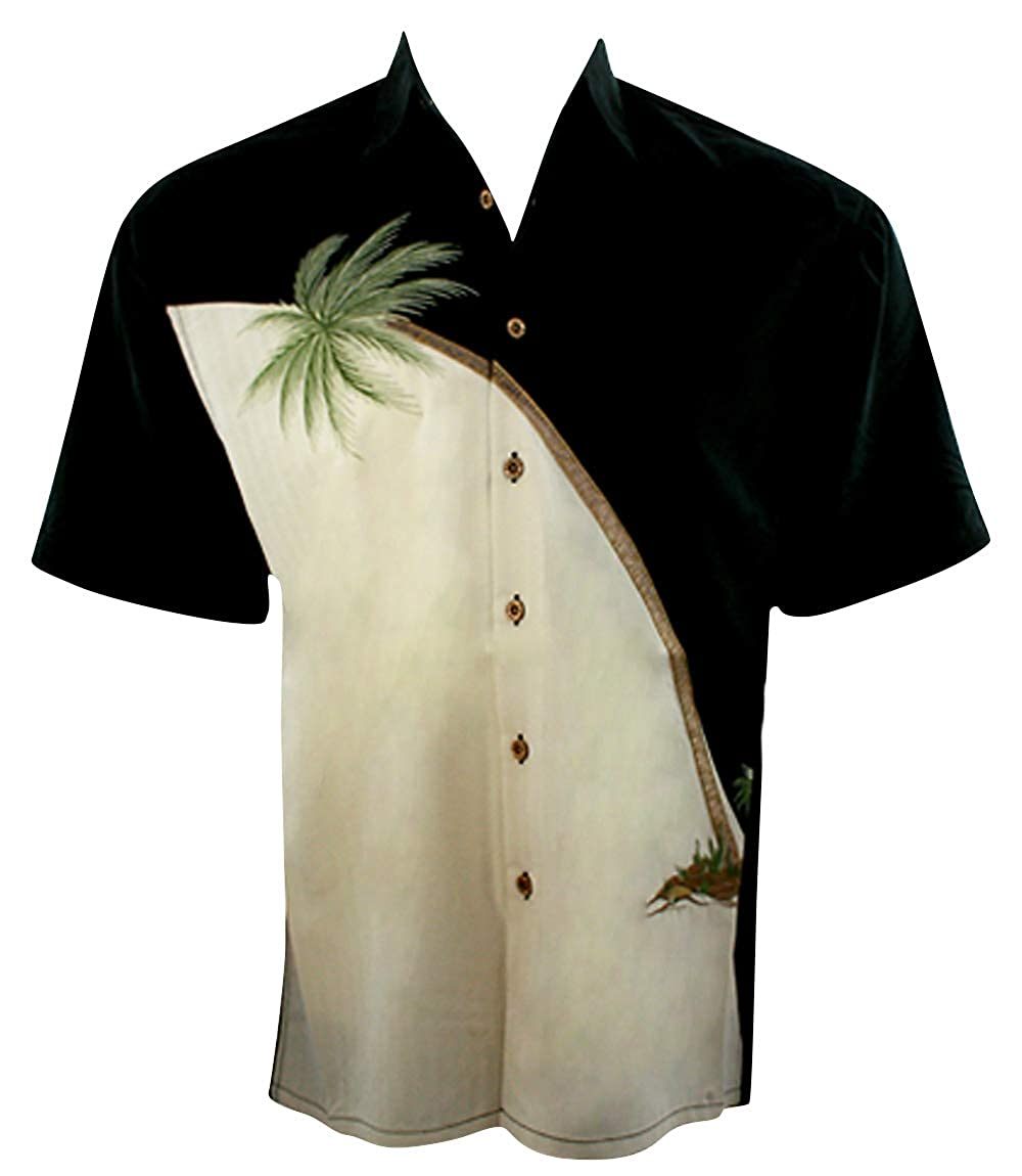 Bamboo Cay Embroidered Tropical Style Black Color Mens Shirt Leaning Palms