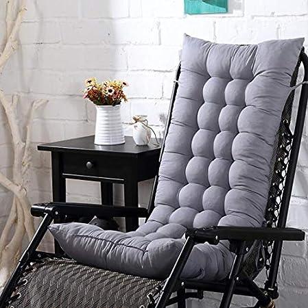 Marbeine Coussin de Chaise Longue Galette de Chaise Coussin Bain de Soleil Matelas pour Chaise Fauteuil Transat de Jardin 48 * 125 * 8cm (Gris)