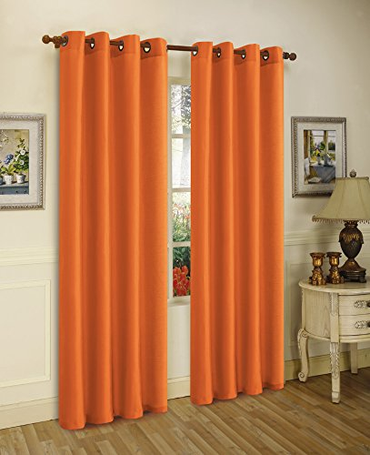 Editex Home Textiles Elaine Window Panel, 58 by 95-Inch, Orange