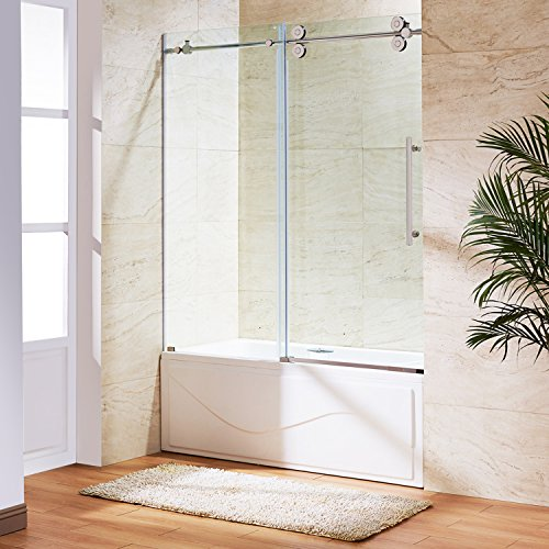 VIGO Elan 56 to 60-in. Frameless Sliding Tub Door with .375-in. Clear Glass and Stainless Steel Hardware by Vigo