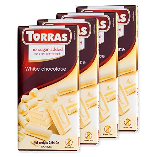 Torras Sugar Free and Gluten Free White Chocolate Bar - White Chocolate (4 Pack)