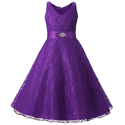 - Girls A Line Lace Belted Dress for Special Occasion Purple 6