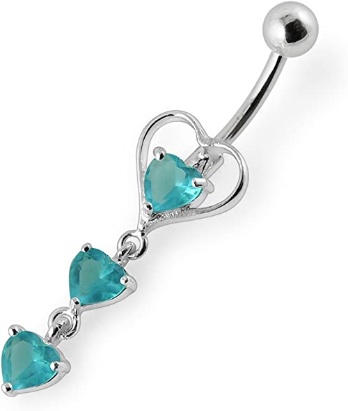 AtoZ Piercing Fancy Triple Heart with Teardrop Dangling 925 Sterling Silver with Stainless Steel Belly Button Rings