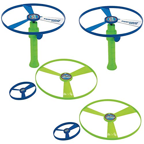 Kidsco Flying Saucer Toy Set - Pack of 2 – 4 Piece Set, Launcher 6.5, Disc 3 and 2 Discs 7.25 – Colors Green and Blue – for Kids Great Party Favors, Bag Stuffers, Fun, Toy, Gift, Prize
