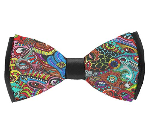 (INWANZI Men's Fashion Pre-Tied Bow Tie, Adjustable Psychedelic Trippy Bowtie for Wedding Holiday Party)