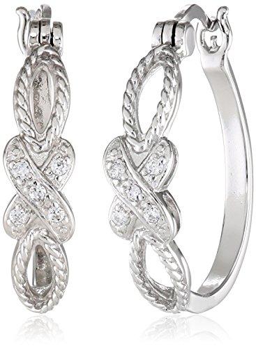Sterling Silver Zirconia Crossover Earrings