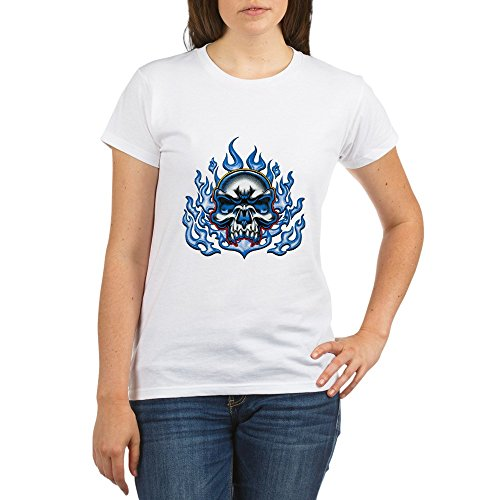 Royal Lion Organic Women's T-Shirt Skull in Blue Flames - Large