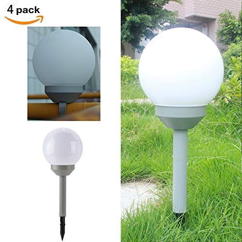 (pearlstar Solar Globe Stake 6 Inch Pathway Lights Waterproof 2 Modes Multifunction Ball for Garden RGB Color Changing Landscape Patio Lawn Yard Walkway(4 Pack, Gray Base))