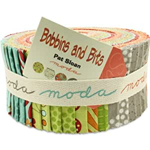 Moda Bobbins and Bits Prints Jelly Roll, Set of 40 2.5x44-inch (6.4x112cm) Precut Cotton Fabric Strips