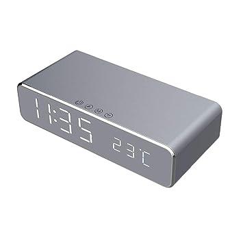 Cikuso Despertador Led Eléctrico con Cargador Inalámbrico de Teléfono Reloj Termómetro Digital de Escritorio Reloj Espejo HD con Memoria de Tiempo: ...