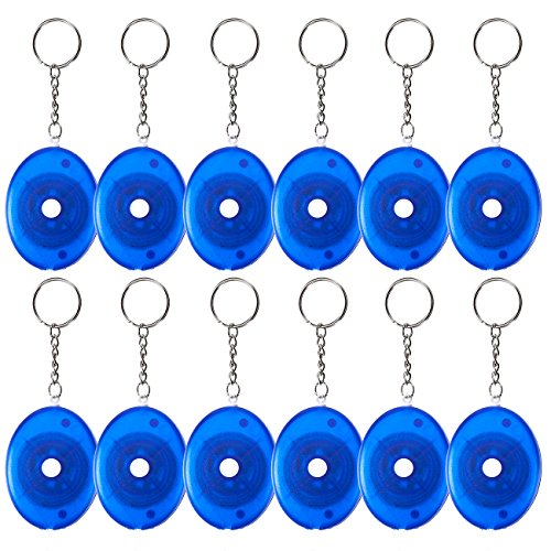 Retractable Tape Measure Keychain - 12-Pack Soft Tailor Tape Measure with Push-Button, Double-Sided Sewing Tape, Blue, 60 Inches, 5 Feet ()