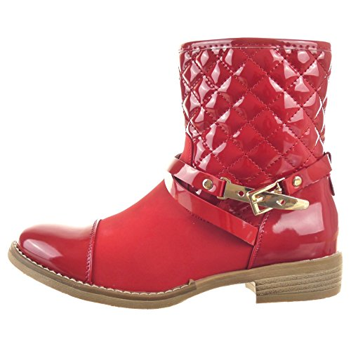 Sopily - damen Mode Schuhe Stiefeletten Reitstiefel - Kavalier Gummistiefel glänzende gesteppt schuhe - Rot
