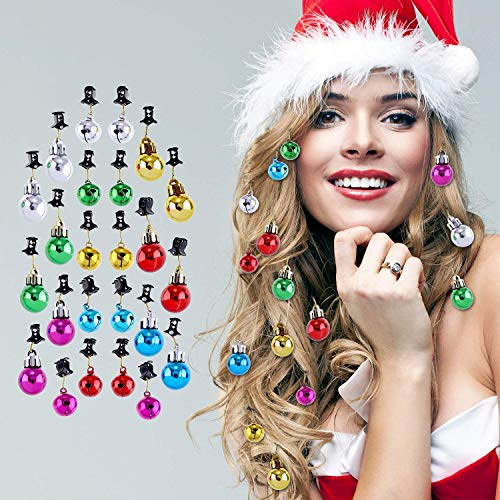 Santa Fairy Ornament - Jovitec 24 Pieces Christmas Beard Baubles Ornaments Santa Claus Beard Bells with Clips for Men Facial Hair Holiday Decoration, 6 Colors