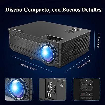 Proyector LED 1080P Full HD Excelvan M5 2018 Actualizado 3500 Lumenes 200