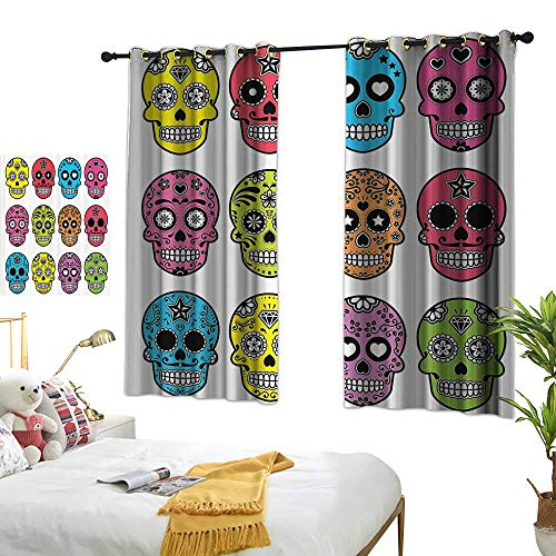 (Blue Curtains Skulls Decorations Collection,Ornate Colorful Traditional Mexian Halloween Skull Icons Dead Humor Folk Art Print,Multi 72