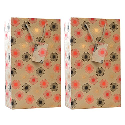 C W  Collections Handcrafted Artisan Double Wine Bottle Gift Bag  2 Pack   Retro Stars  Tan Red Black Gold