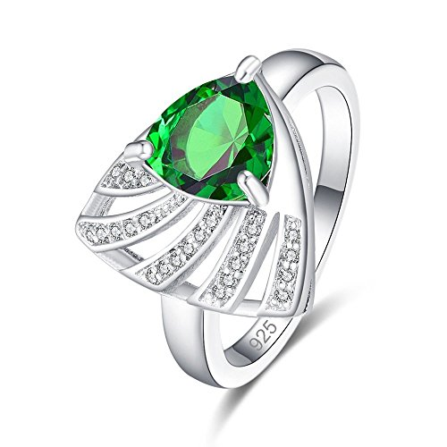 Contemporary Trillion Ring - Kurmase 925 Sterling Silver Created Garnet Filled Trillion Cut Contemporary Unique Statement Ring for Women (Color : Green, Size : 8)