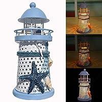 Staron 5.7'' High Lighthouse Candle Tealight Lamp Holder Night Light Decor, Mediterranean Style Vintage Openwork Ocean Lighthouse Wedding Lantern Decoration