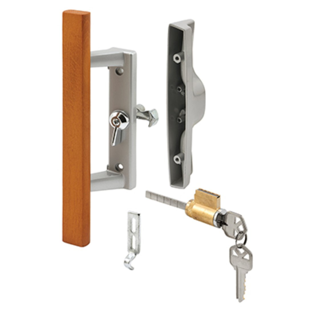 Sliding Glass Patio Door Handle Set with Internal Lock for Viking Doors, 3-15/16'' Screw Holes, Keyed, Wood/Aluminum