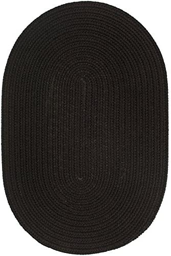 Super Area Rugs Maui Braided Rug Indoor Outdoor Rug Washable Reversible Black Patio Porch Kitchen Carpet, 5 X 8 Oval