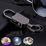 Keychain Flashlight with Bright LED Light Bottle Opener Electronic Cigarette Lighter USB Rechargeable Key Ring Clip Gift (Black)