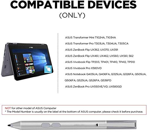Digital Pen Active Stylus for ASUS Transformer T102HA T103HA T303UA T305CA T304UA, ZenBook UX560UA UX561UA, Vivobook TP510UA TP203NA TP401NA with 1024 Levels of Pressure Sensitivity (Silver)
