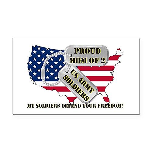 CafePress - Proud Mom of 2 US Army Soldiers Rectangle Car Magn - Rectangle Car Magnet, Magnetic Bumper Sticker -