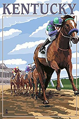 Kentucky - Horse Racing Track Scene (9x12 Collectible Art Print, Wall Decor Travel Poster)