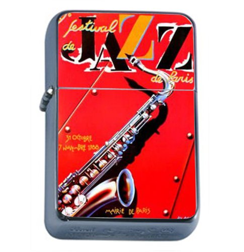 Jazz Festival Saxophone Cool Windproof Refillable Flip Top Oil Lighter with Tin Gift Box ()