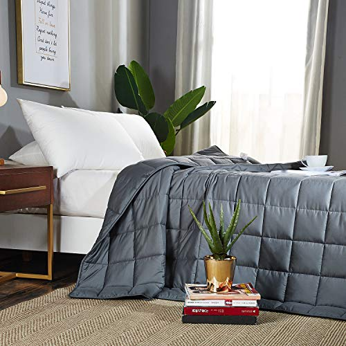 JOLLYVOGUE Weighted Blanket for Adult (15lbs, 60''x80''), Twin Size Weighted Blanket Heavy Blanket with 100% Soft Cotton and Glass Beads-Gray