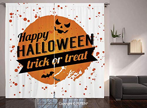 Thermal Insulated Blackout Window Curtain [ Halloween,Happy Halloween Trick or Treat Watercolor Stains Drops Pumpkin Face Bats,Orange Black White ] for Living Room Bedroom Dorm Room Classroom Kitchen