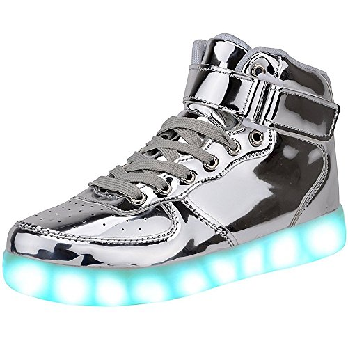 JAIMEBANNISTER Mens Womens USB Charging High Tops Led Light up Sneakers – Silver EU44