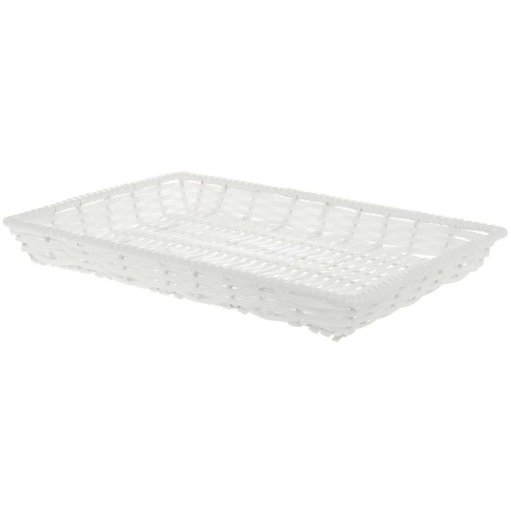 Amazon.com: Expressly HUBERT Rectangular White Plastic Tri-Cord Washable Basket - 13