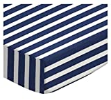 SheetWorld Fitted Portable/Mini Crib Sheet - Primary Navy Stripe Woven - Made In USA