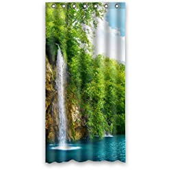 Cool And Picturesque Small Waterfall Green Trees Shower Curtain
